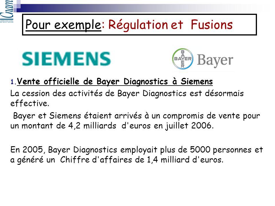 Pour exemple: Régulation et Fusions 1. Vente officielle de Bayer Diagnostics à Siemens La cession des activités de Bayer Diagnostics est désormais eff