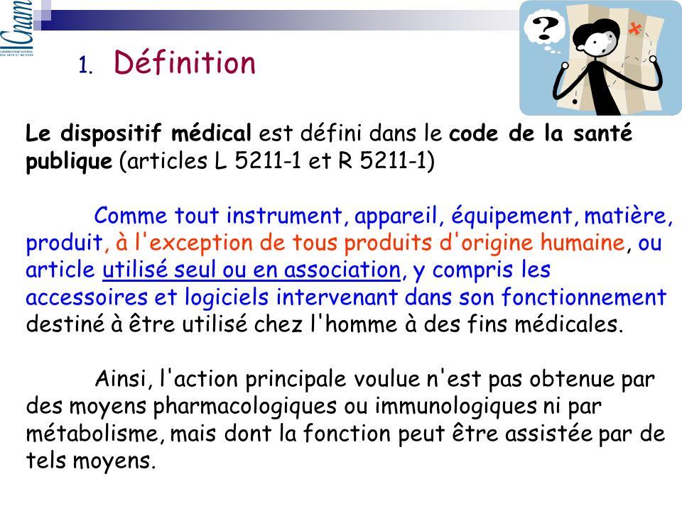 Le dispositif médical est défini dans le code de la santé publique (articles L 5211-1 et R 5211-1) Comme tout instrument, appareil, équipement, matièr
