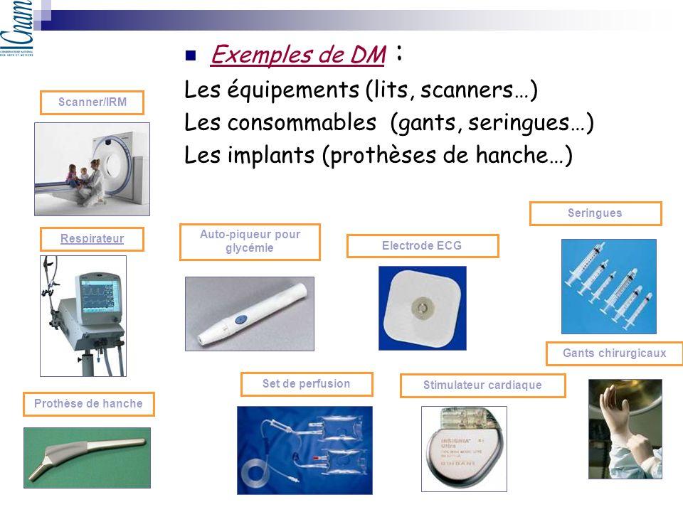 Scanner/IRM Electrode ECG Respirateur Set de perfusion Prothèse de hanche Auto-piqueur pour glycémie Stimulateur cardiaque Exemples de DM : Les équipe
