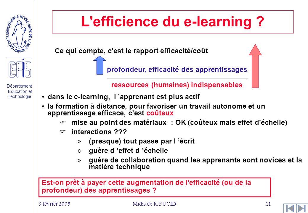 Département Éducation et Technologie 3 février 2005Midis de la FUCID11 L efficience du e-learning .