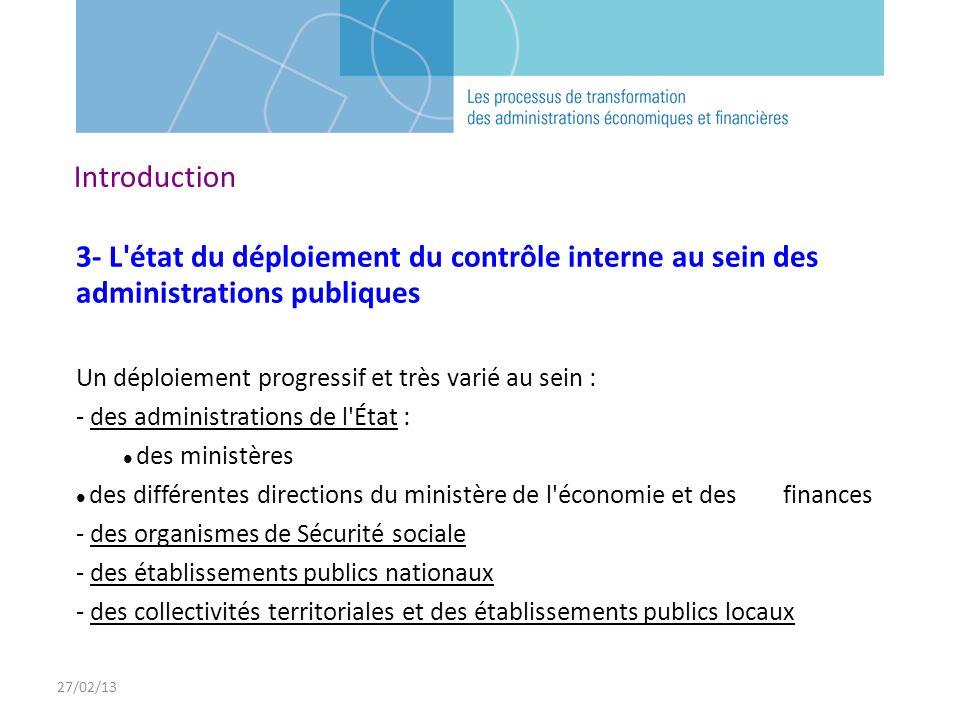 27/02/13 3- L'état du déploiement du contrôle interne au sein des administrations publiques Un déploiement progressif et très varié au sein : - des ad