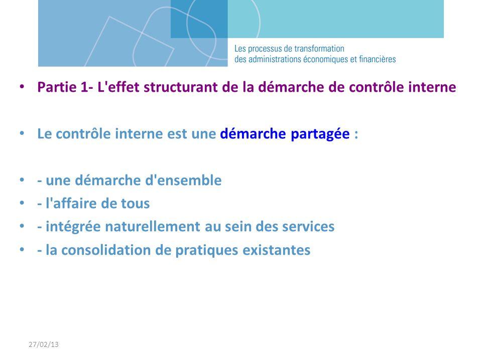 27/02/13 Partie 1- L'effet structurant de la démarche de contrôle interne Le contrôle interne est une démarche partagée : - une démarche d'ensemble -