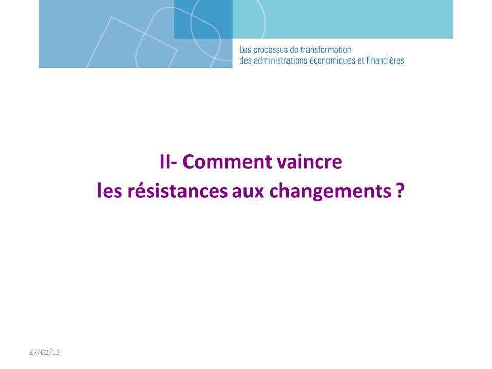 27/02/13 II- Comment vaincre les résistances aux changements ?