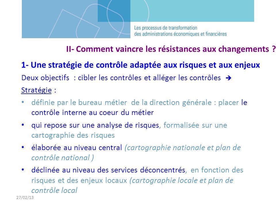 27/02/13 II- Comment vaincre les résistances aux changements ? 1- Une stratégie de contrôle adaptée aux risques et aux enjeux Deux objectifs : cibler