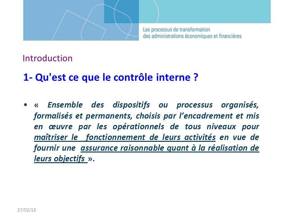 27/02/13 Introduction 1- Qu'est ce que le contrôle interne ? « Ensemble des dispositifs ou processus organisés, formalisés et permanents, choisis par