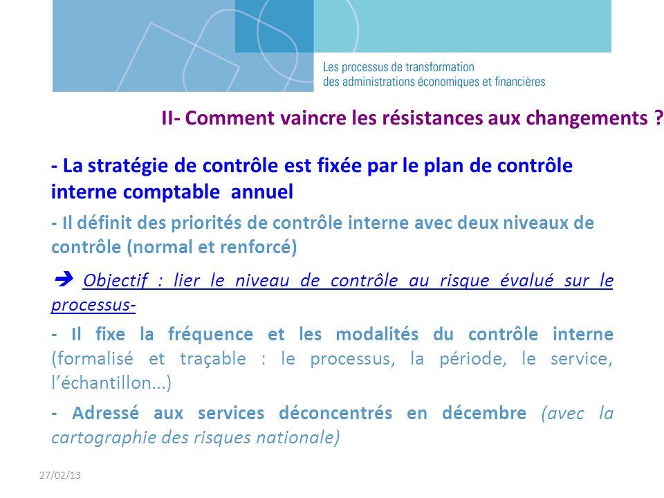 27/02/13 - La stratégie de contrôle est fixée par le plan de contrôle interne comptable annuel - Il définit des priorités de contrôle interne avec deu