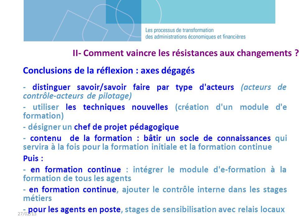 27/02/13 Conclusions de la réflexion : axes dégagés - distinguer savoir/savoir faire par type d'acteurs (acteurs de contrôle-acteurs de pilotage) - ut