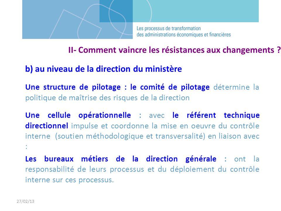 27/02/13 b) au niveau de la direction du ministère Une structure de pilotage : le comité de pilotage détermine la politique de maîtrise des risques de