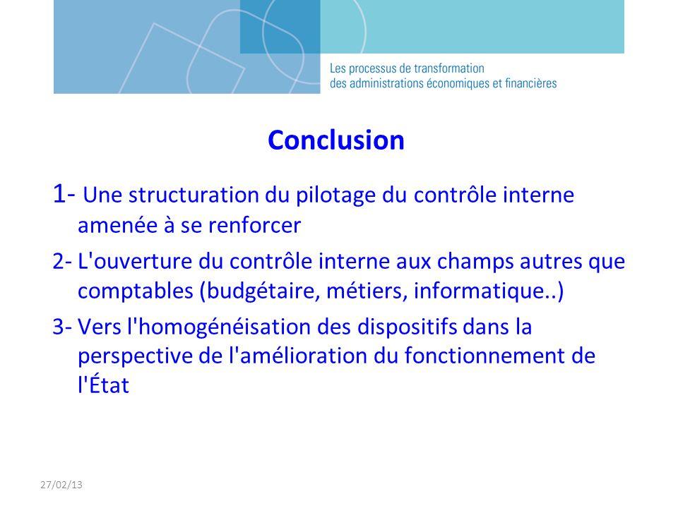 27/02/13 Conclusion 1- Une structuration du pilotage du contrôle interne amenée à se renforcer 2- L'ouverture du contrôle interne aux champs autres qu
