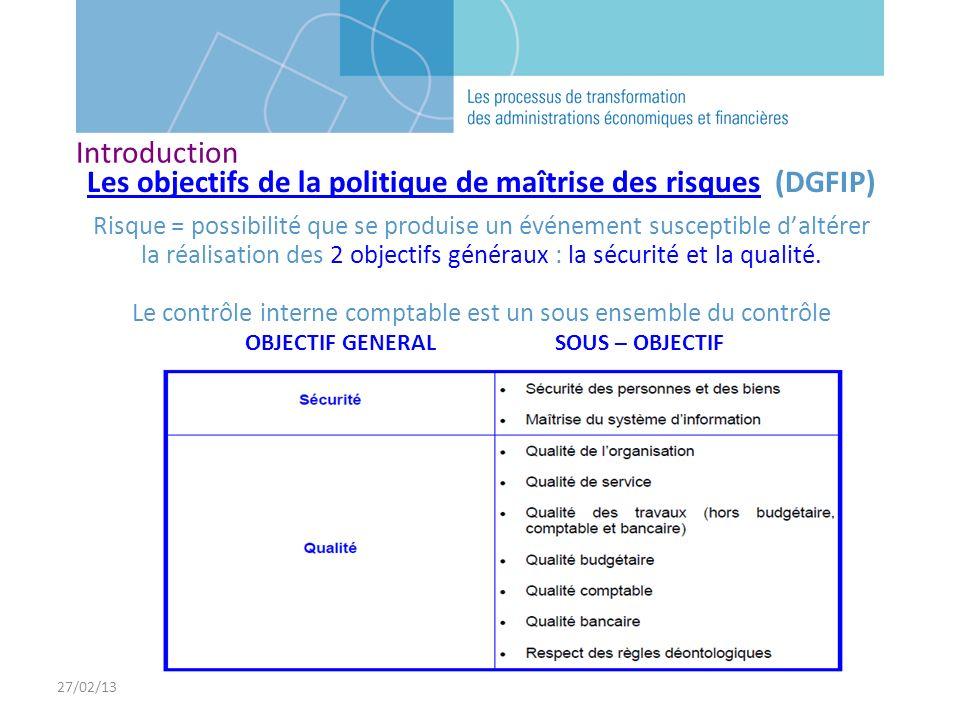 27/02/13 Les objectifs de la politique de maîtrise des risques (DGFIP) Risque = possibilité que se produise un événement susceptible daltérer la réali