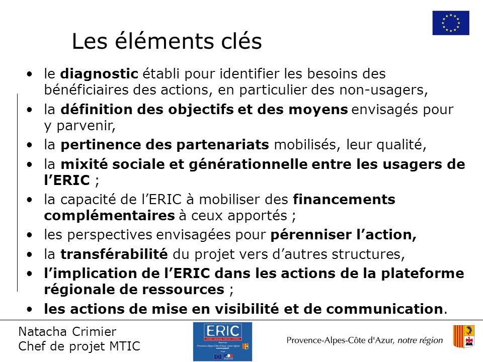 Natacha Crimier Chef de projet MTIC le diagnostic établi pour identifier les besoins des bénéficiaires des actions, en particulier des non-usagers, la