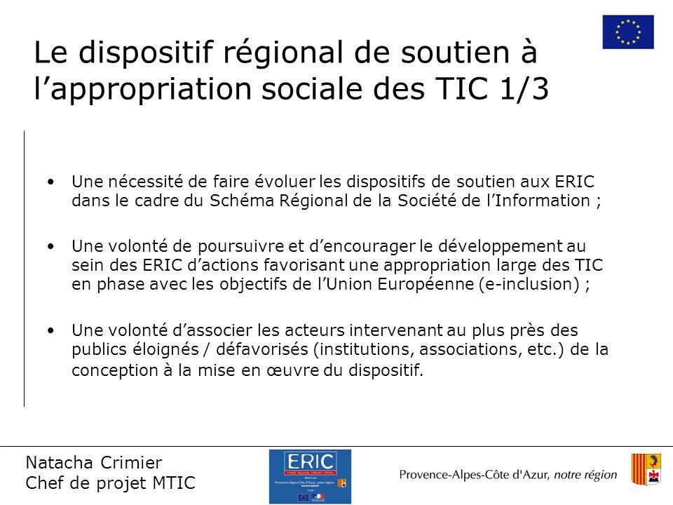 Natacha Crimier Chef de projet MTIC Une nécessité de faire évoluer les dispositifs de soutien aux ERIC dans le cadre du Schéma Régional de la Société