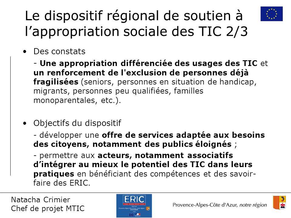 Natacha Crimier Chef de projet MTIC Le dispositif régional de soutien à lappropriation sociale des TIC 2/3 Des constats - Une appropriation différenci