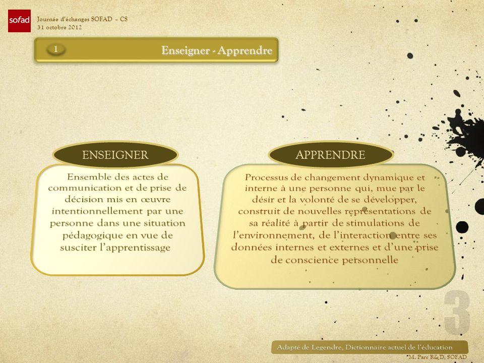 Enseigner - Apprendre ENSEIGNERAPPRENDRE Journée déchanges SOFAD – CS 31 octobre 2012 1 M. Parr R&D, SOFAD