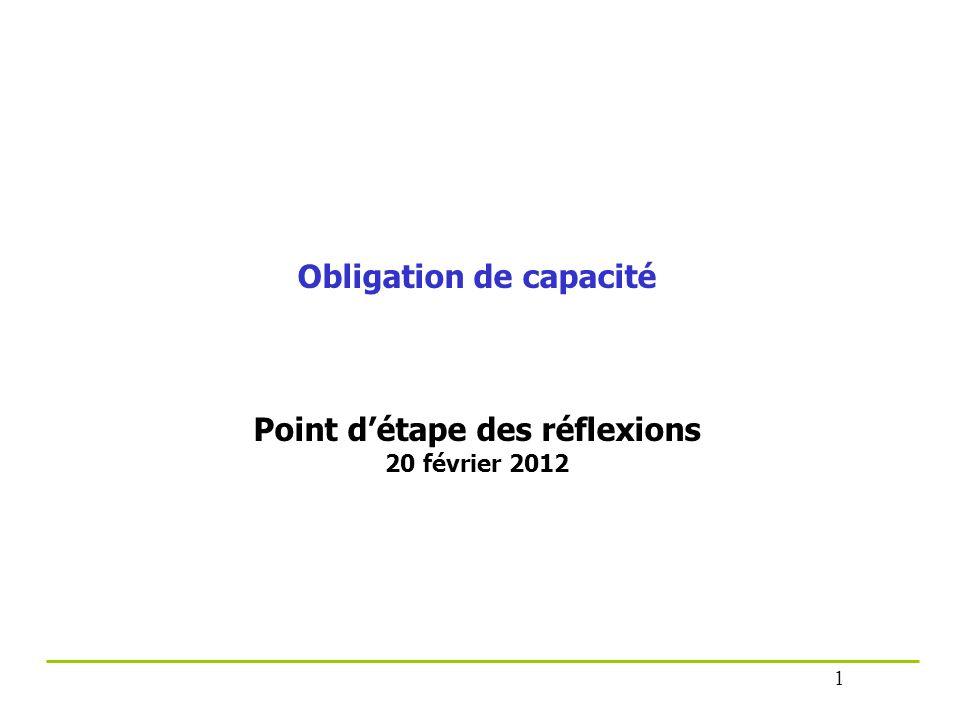 Obligation de capacité Point détape des réflexions 20 février 2012 1
