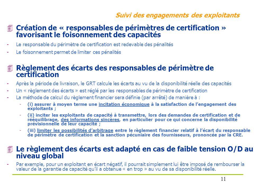 Suivi des engagements des exploitants Création de « responsables de périmètres de certification » favorisant le foisonnement des capacités -Le respons