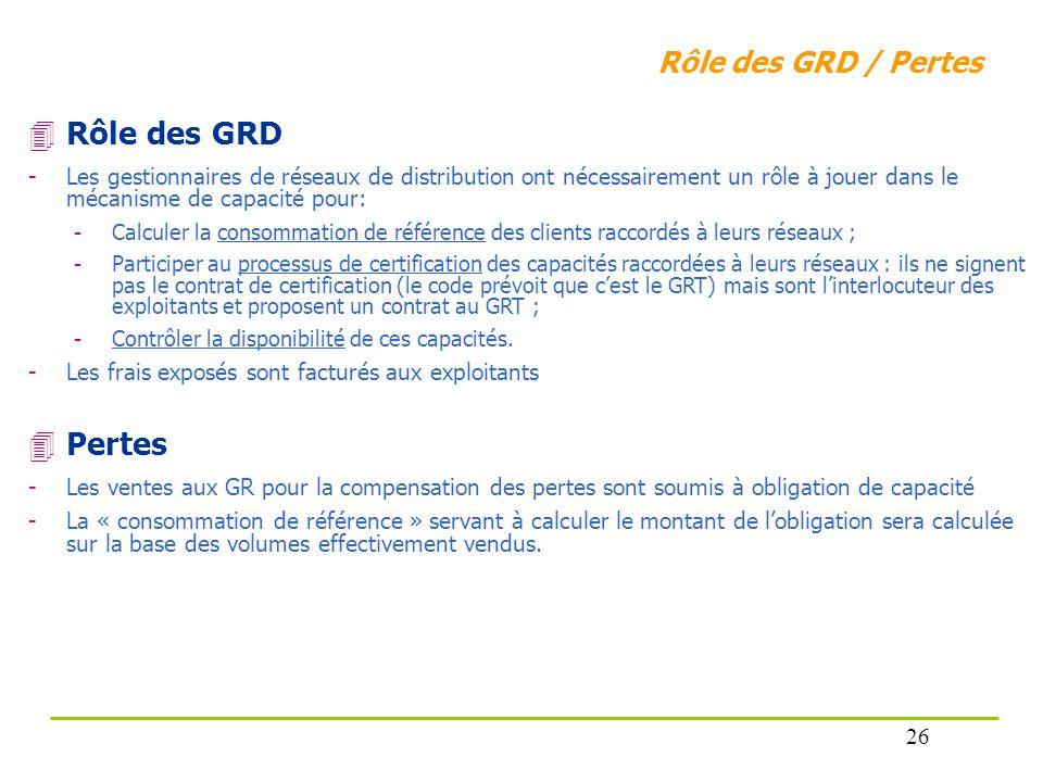 Rôle des GRD / Pertes Rôle des GRD -Les gestionnaires de réseaux de distribution ont nécessairement un rôle à jouer dans le mécanisme de capacité pour