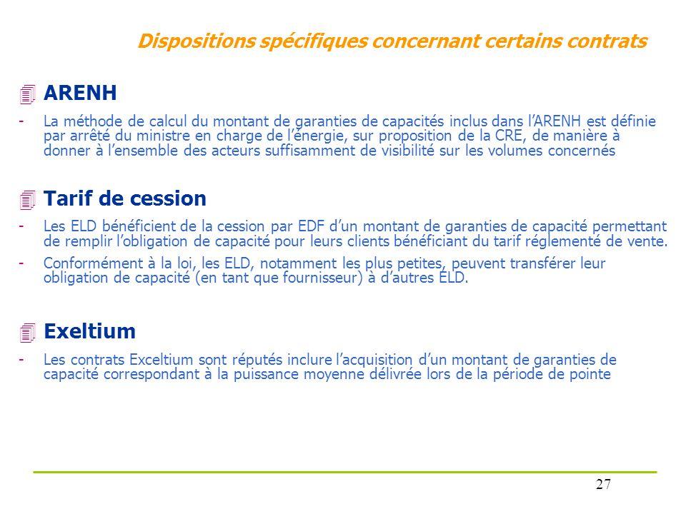Dispositions spécifiques concernant certains contrats ARENH -La méthode de calcul du montant de garanties de capacités inclus dans lARENH est définie