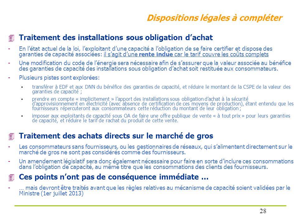 Dispositions légales à compléter Traitement des installations sous obligation dachat -En létat actuel de la loi, lexploitant dune capacité a lobligati