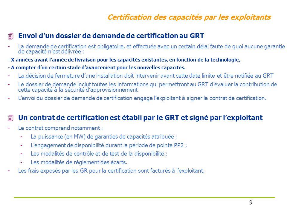 Certification des capacités par les exploitants Envoi dun dossier de demande de certification au GRT -La demande de certification est obligatoire, et
