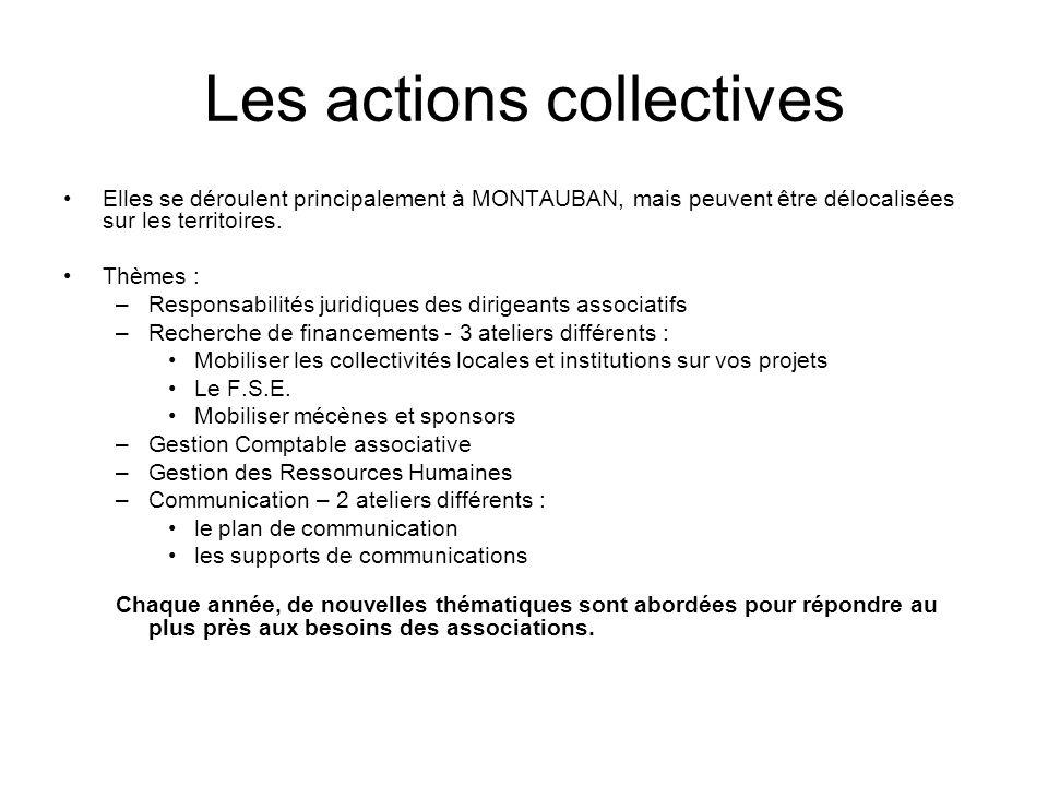 Les actions collectives Elles se déroulent principalement à MONTAUBAN, mais peuvent être délocalisées sur les territoires.