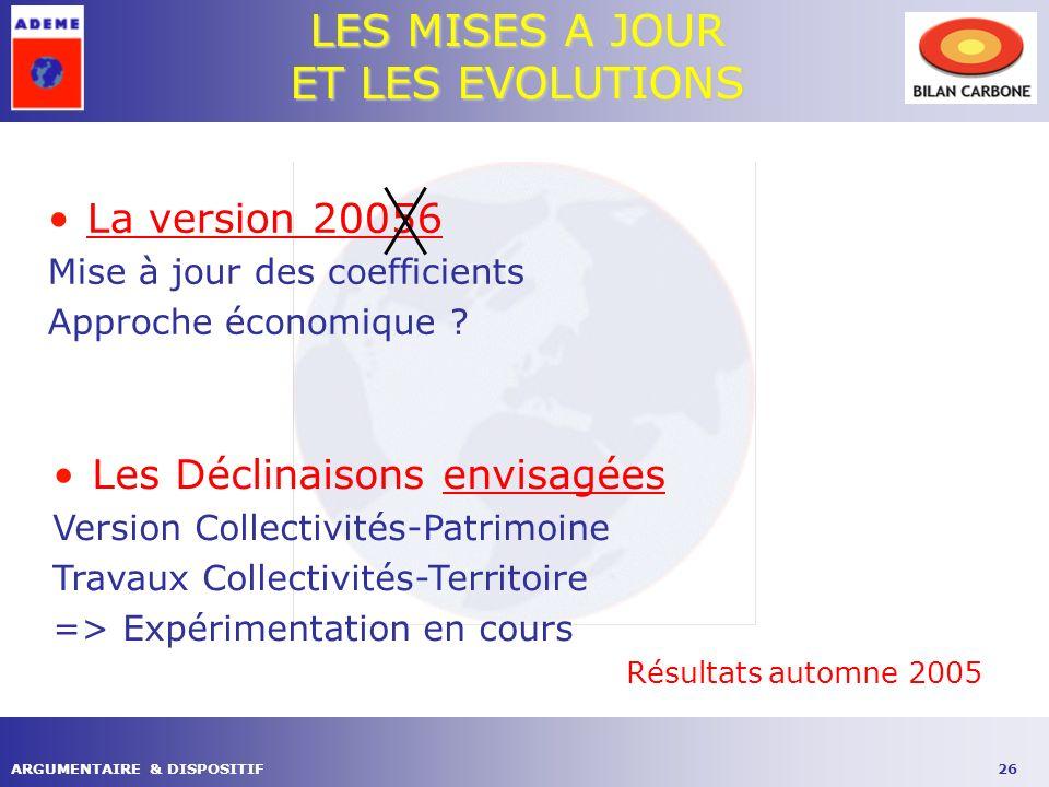 26ARGUMENTAIRE & DISPOSITIF LES MISES A JOUR ET LES EVOLUTIONS La version 20056 Mise à jour des coefficients Approche économique .