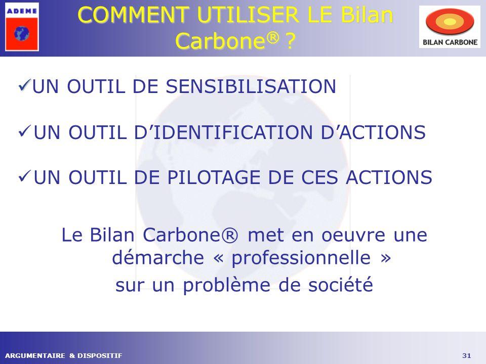 31ARGUMENTAIRE & DISPOSITIF COMMENT UTILISER LE Bilan Carbone ® .