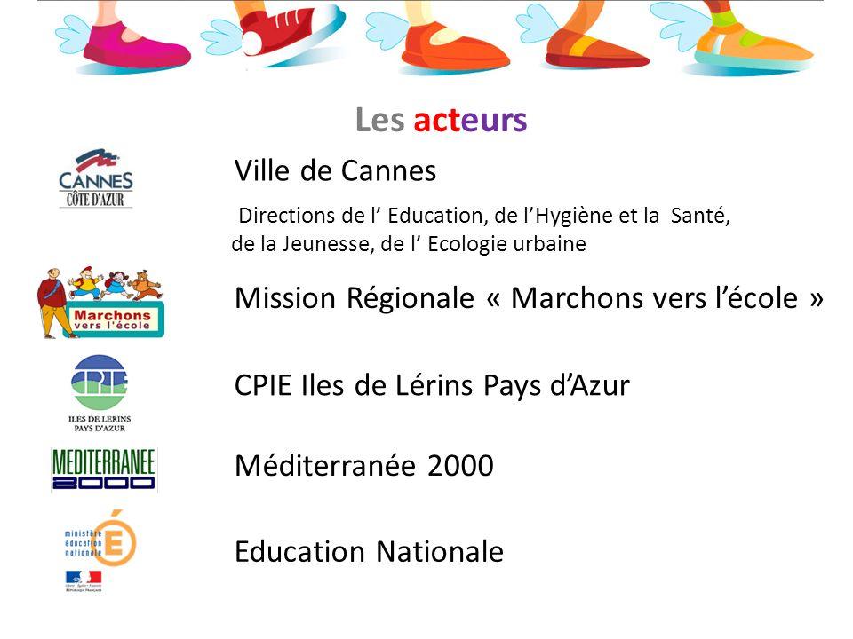 Directions de l Education, de lHygiène et la Santé, de la Jeunesse, de l Ecologie urbaine Ville de Cannes Les acteurs Mission Régionale « Marchons ver