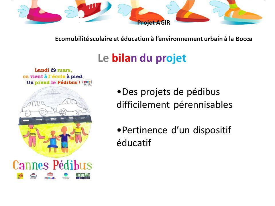 Le bilan du projet Des projets de pédibus difficilement pérennisables Pertinence dun dispositif éducatif Projet AGIR Ecomobilité scolaire et éducation