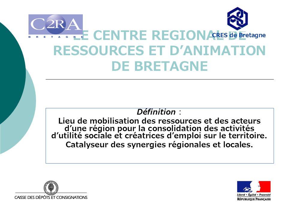 LE CENTRE REGIONAL DE RESSOURCES ET DANIMATION DE BRETAGNE Définition : Lieu de mobilisation des ressources et des acteurs dune région pour la consoli