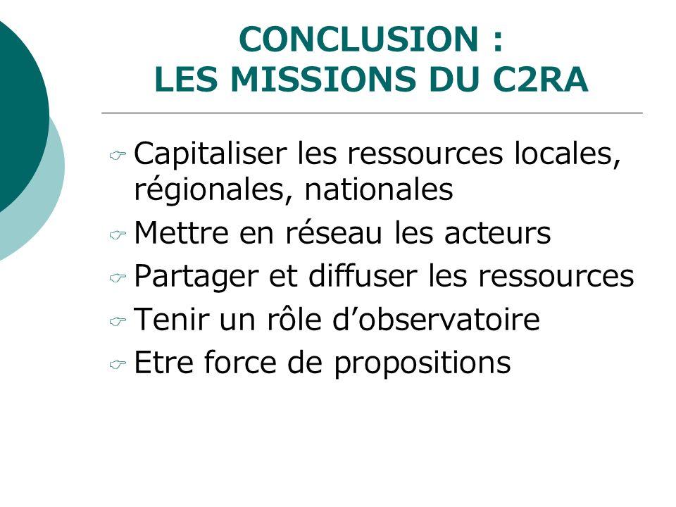 CONCLUSION : LES MISSIONS DU C2RA Capitaliser les ressources locales, régionales, nationales Mettre en réseau les acteurs Partager et diffuser les ressources Tenir un rôle dobservatoire Etre force de propositions