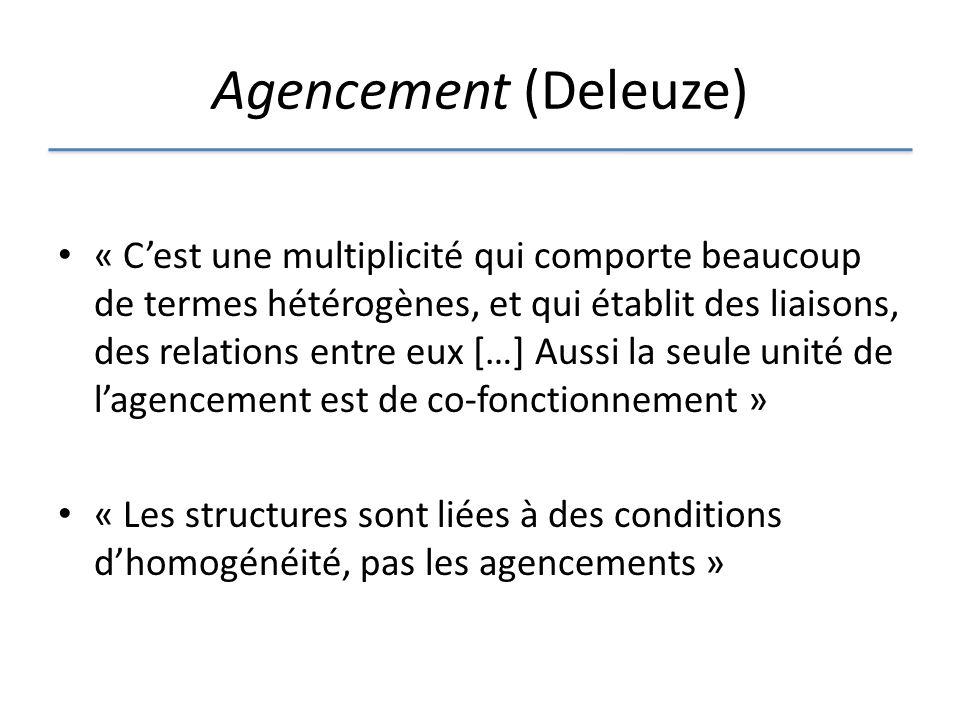 Agencement (Deleuze) « Cest une multiplicité qui comporte beaucoup de termes hétérogènes, et qui établit des liaisons, des relations entre eux […] Aussi la seule unité de lagencement est de co-fonctionnement » « Les structures sont liées à des conditions dhomogénéité, pas les agencements »