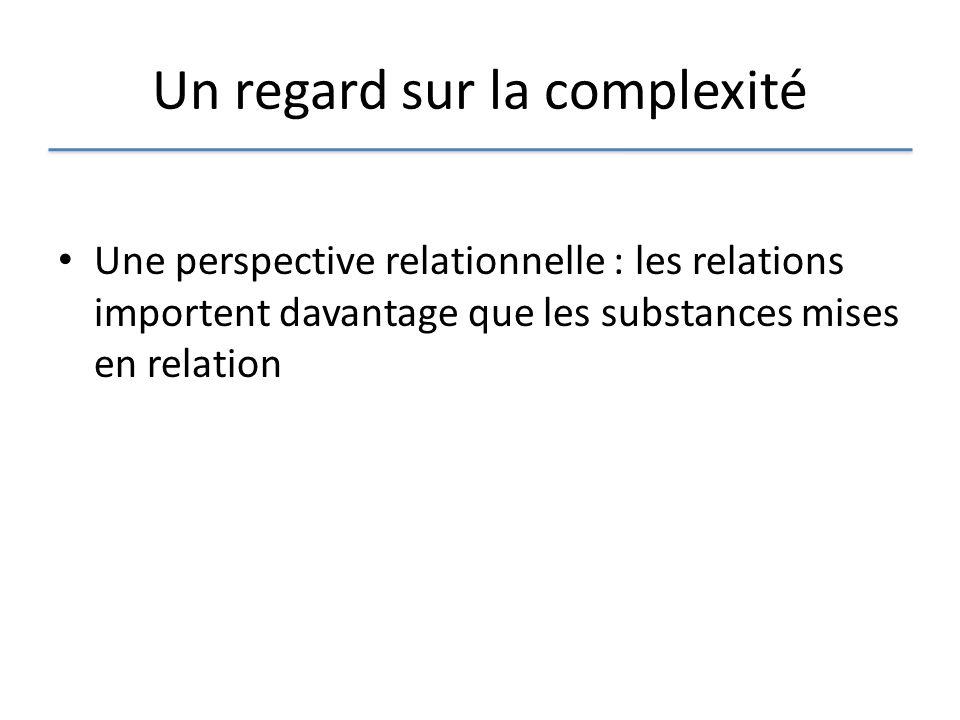 Un regard sur la complexité Une perspective relationnelle : les relations importent davantage que les substances mises en relation