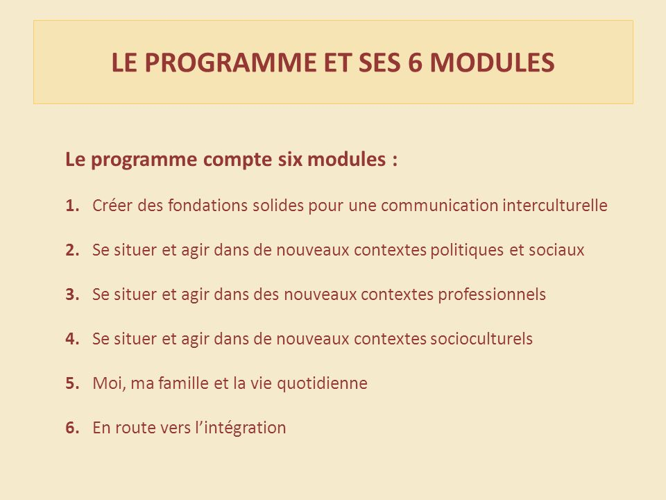 Le programme compte six modules : 1.
