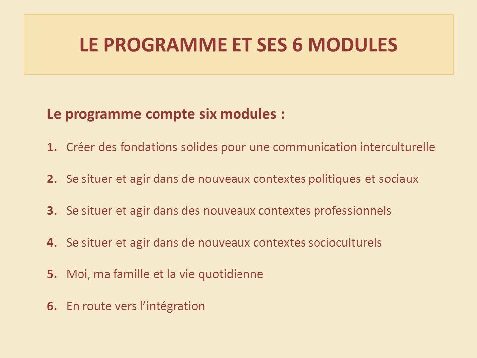 Le programme compte six modules : 1. Créer des fondations solides pour une communication interculturelle 2. Se situer et agir dans de nouveaux context