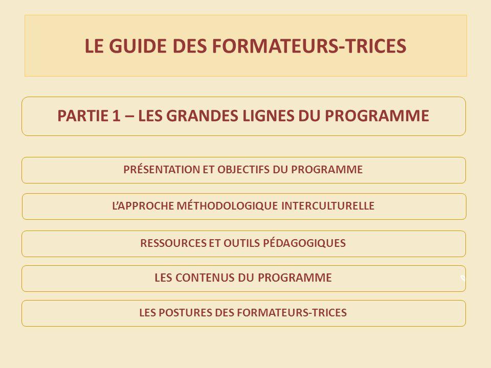 LE GUIDE DES FORMATEURS-TRICES PARTIE 1 – LES GRANDES LIGNES DU PROGRAMME PRÉSENTATION ET OBJECTIFS DU PROGRAMMELAPPROCHE MÉTHODOLOGIQUE INTERCULTURELLERESSOURCES ET OUTILS PÉDAGOGIQUESLES POSTURES DES FORMATEURS-TRICES LES CONTENUS DU PROGRAMME