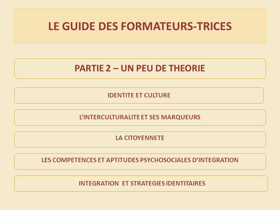 LE GUIDE DES FORMATEURS-TRICES PARTIE 2 – UN PEU DE THEORIE IDENTITE ET CULTURE LINTERCULTURALITE ET SES MARQUEURS INTEGRATION ET STRATEGIES IDENTITAIRES LA CITOYENNETE LES COMPETENCES ET APTITUDES PSYCHOSOCIALES DINTEGRATION