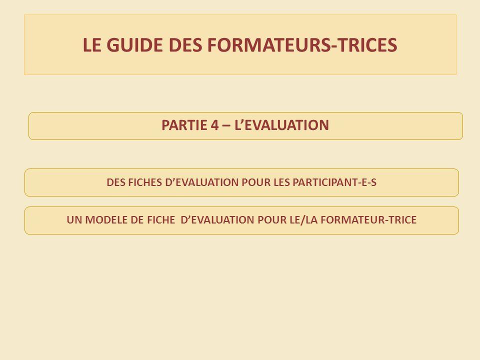 LE GUIDE DES FORMATEURS-TRICES DES FICHES DEVALUATION POUR LES PARTICIPANT-E-S UN MODELE DE FICHE DEVALUATION POUR LE/LA FORMATEUR-TRICE PARTIE 4 – LEVALUATION