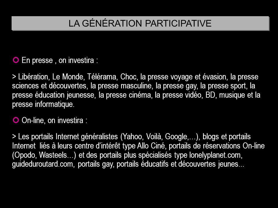 En presse, on investira : > Libération, Le Monde, Télérama, Choc, la presse voyage et évasion, la presse sciences et découvertes, la presse masculine,