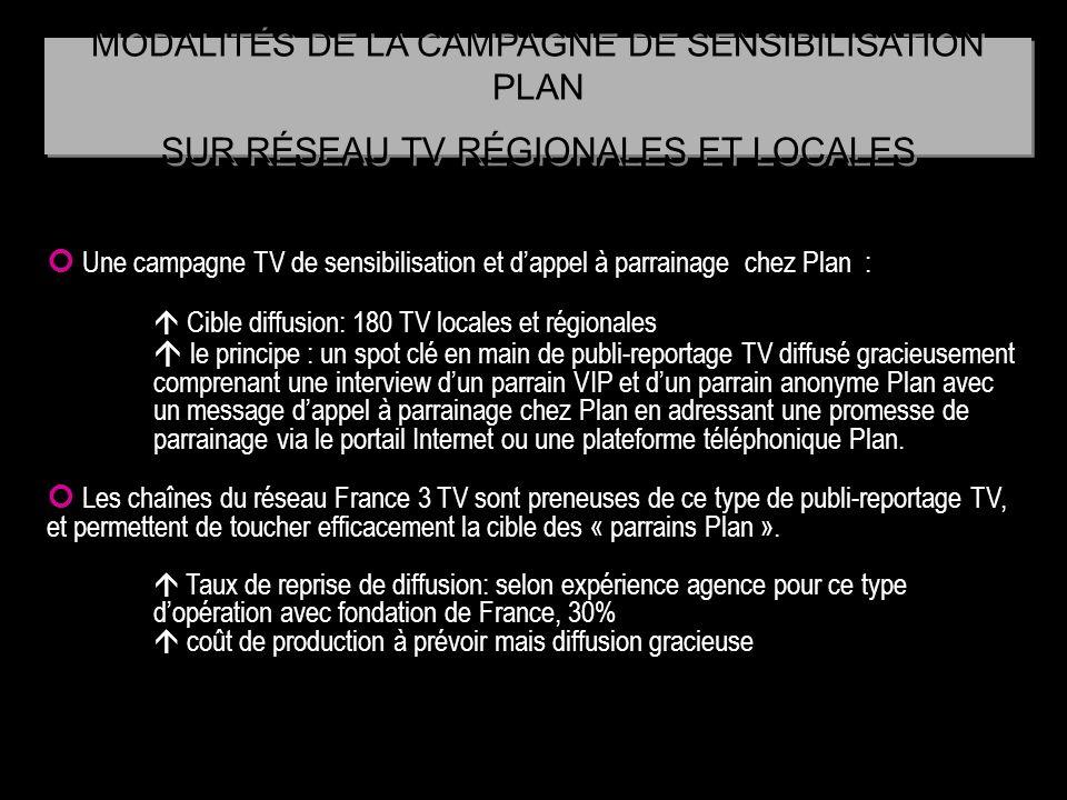 Une campagne TV de sensibilisation et dappel à parrainage chez Plan : Cible diffusion: 180 TV locales et régionales le principe : un spot clé en main
