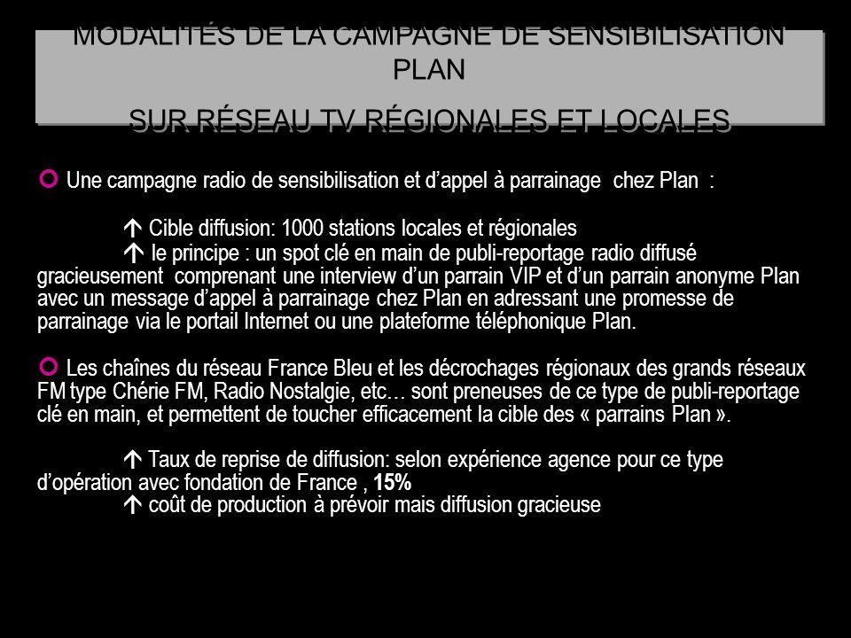 Une campagne radio de sensibilisation et dappel à parrainage chez Plan : Cible diffusion: 1000 stations locales et régionales le principe : un spot cl