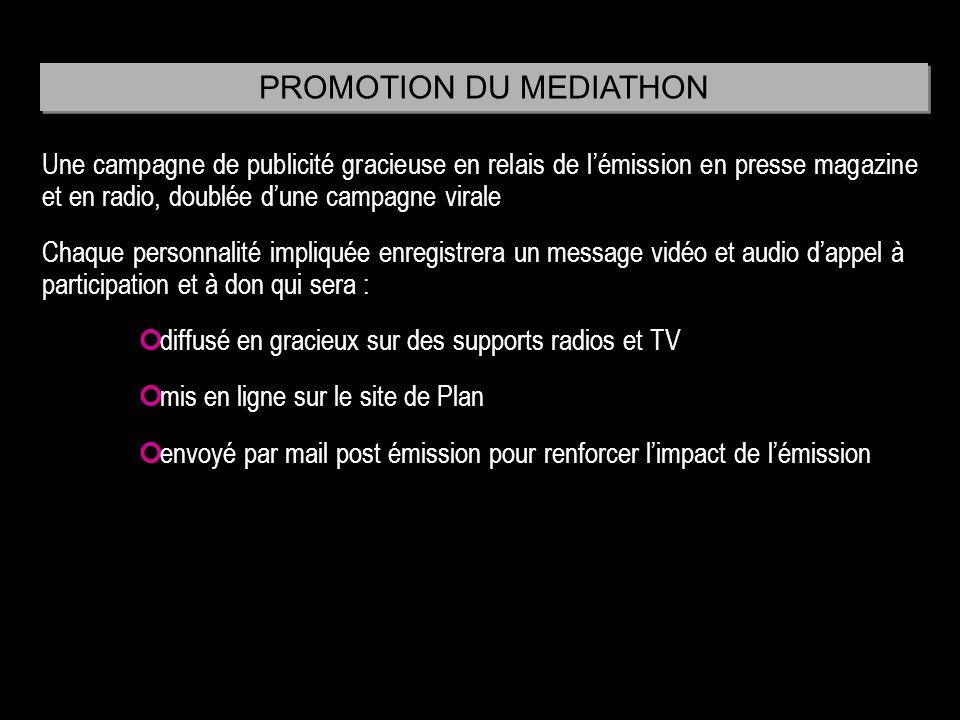 Une campagne de publicité gracieuse en relais de lémission en presse magazine et en radio, doublée dune campagne virale Chaque personnalité impliquée