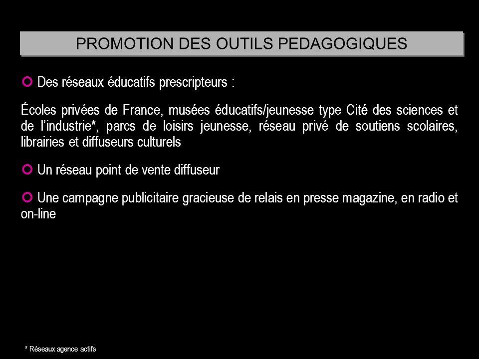 Des réseaux éducatifs prescripteurs : Écoles privées de France, musées éducatifs/jeunesse type Cité des sciences et de lindustrie*, parcs de loisirs j
