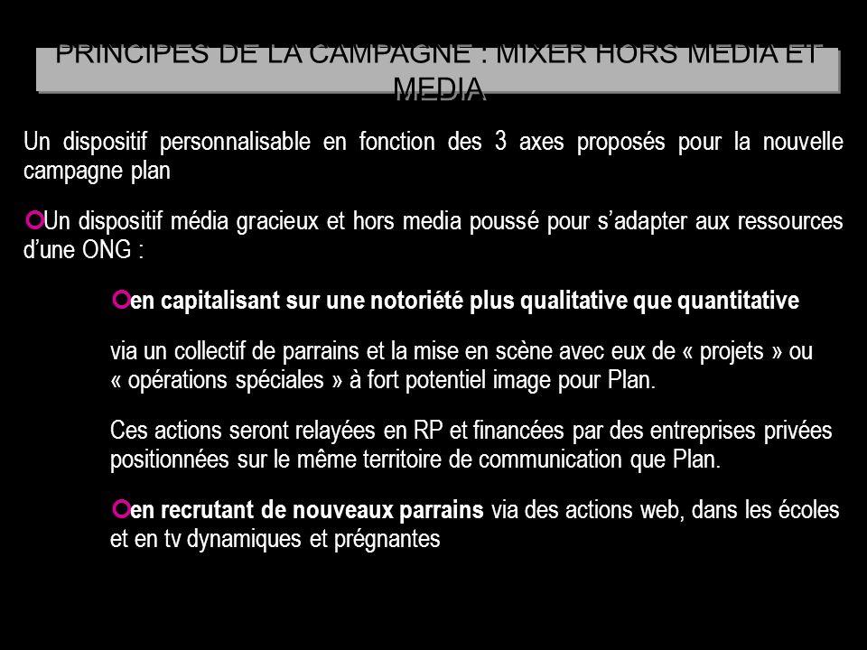 Un dispositif personnalisable en fonction des 3 axes proposés pour la nouvelle campagne plan Un dispositif média gracieux et hors media poussé pour sa