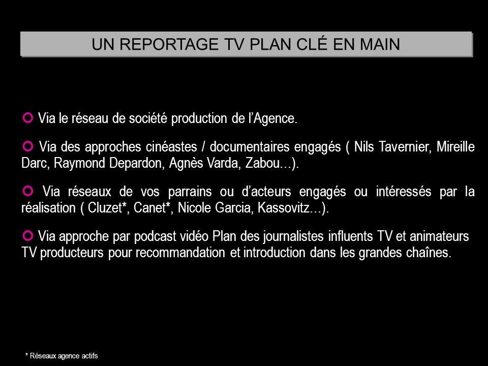 Via le réseau de société production de lAgence. Via des approches cinéastes / documentaires engagés ( Nils Tavernier, Mireille Darc, Raymond Depardon,