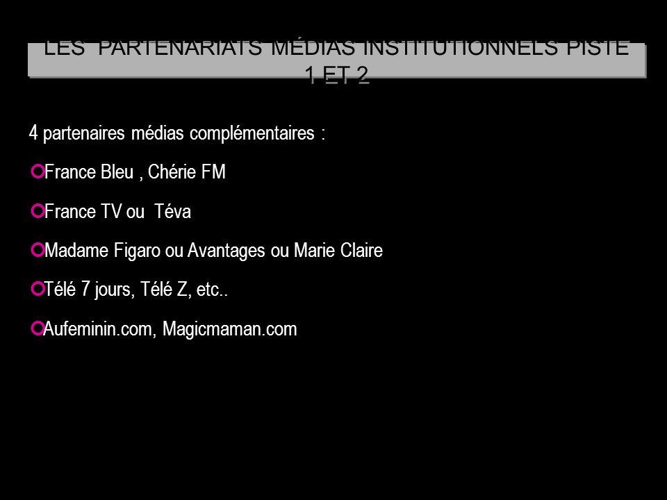 4 partenaires médias complémentaires : France Bleu, Chérie FM France TV ou Téva Madame Figaro ou Avantages ou Marie Claire Télé 7 jours, Télé Z, etc..