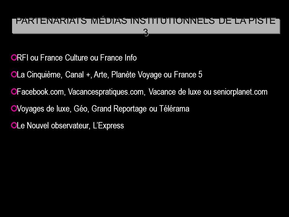 RFI ou France Culture ou France Info La Cinquième, Canal +, Arte, Planète Voyage ou France 5 Facebook.com, Vacancespratiques.com, Vacance de luxe ou s