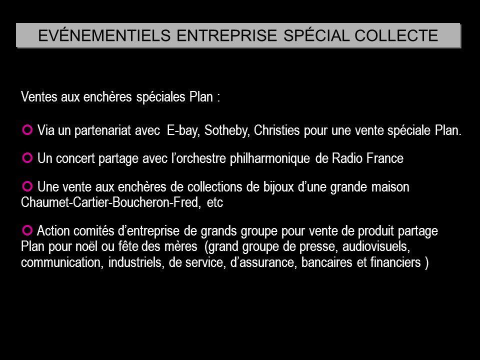 EVÉNEMENTIELS ENTREPRISE SPÉCIAL COLLECTE Ventes aux enchères spéciales Plan : Via un partenariat avec E-bay, Sotheby, Christies pour une vente spécia