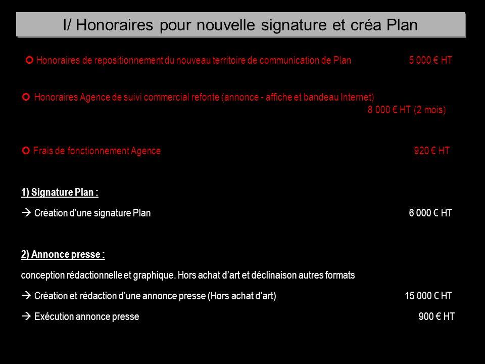 Honoraires de repositionnement du nouveau territoire de communication de Plan5 000 HT Honoraires Agence de suivi commercial refonte (annonce - affiche