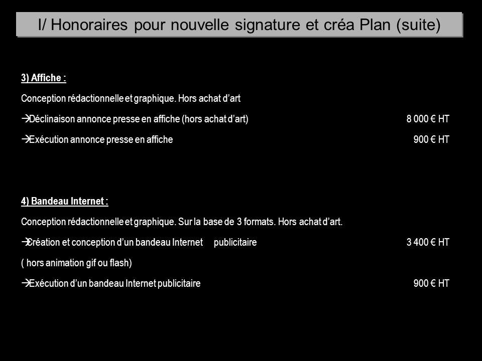 3) Affiche : Conception rédactionnelle et graphique. Hors achat dart à Déclinaison annonce presse en affiche (hors achat dart)8 000 HT à Exécution ann